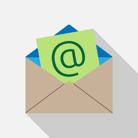 envelope icon: E-mail envelope icon on light gray background with long shadow. Flat style.