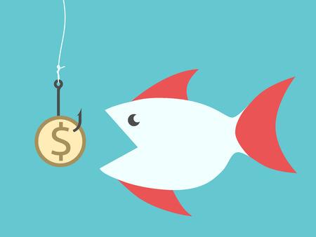 낚시 줄에 후크에 매달려 황금 달러 동전 미끼를 먹는 큰 물고기. 일러스트
