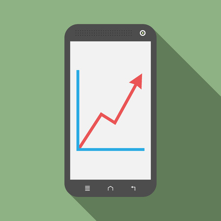 web screen: Smartphone with red growth graph on its screen with drop shadow on green background. Flat style. Illustration
