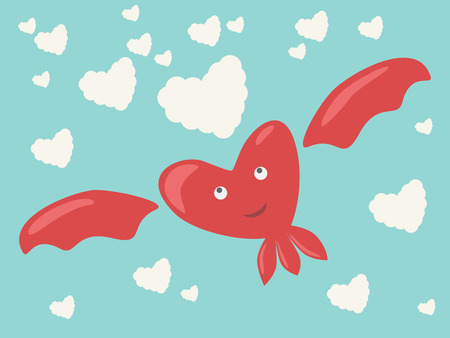 heartshaped: Happy red smiling dreaming pensive heart character with wings, eyes and mouth flying among heart-shaped clouds in sky.