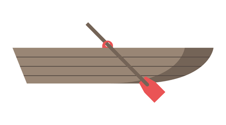 oar: Empty brown wooden boat with red oar isolated on white, side view. Flat style.