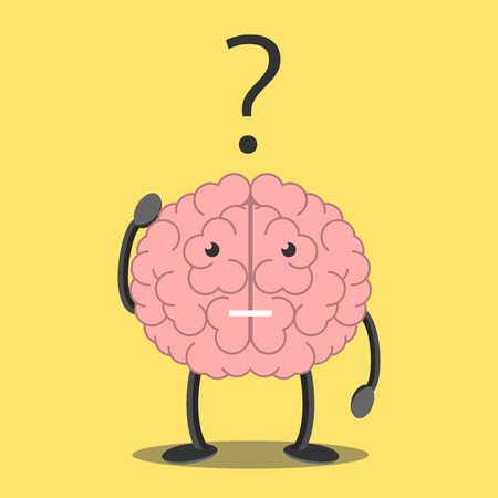 Confused brain character scratching head in bewilderment and question mark. Memory, problem, task, solution, science, creativity, imagination concept.