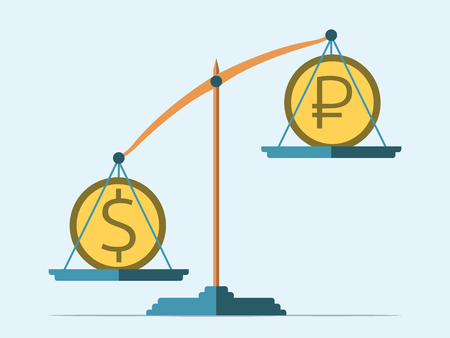 price drop: Dollar and ruble coins on scales. Rouble in decline. Flat style. Exchange rate concept. EPS 8 vector illustration, no transparency Illustration