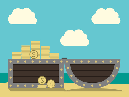 eps 8: Open chest with treasure on sand beach on cloudy sky and ocean background. Many gold dollar coins. EPS 8 vector illustration, no transparency