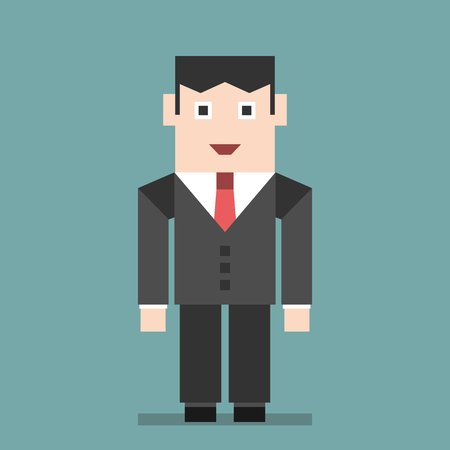 official: Smiling businessman standing on turquoise blue background. Business, success, management, boss, work, job concept. Flat style. EPS 8 vector illustration, no transparency