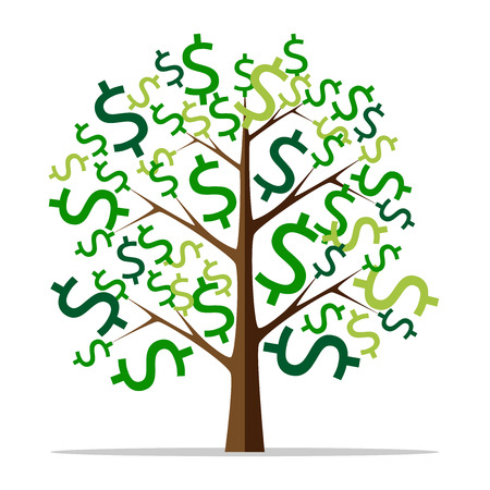 style wealth: Money tree with green dollar signs isolated on white background. Flat style. Wealth, success, profit, finance, business concept. EPS 8 vector illustration, no transparency Illustration