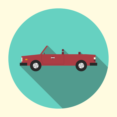 eps 8: Beautiful old classic retro styled red cabriolet car round icon. Flat design with long shadow. Automobile, transport, autos concept. EPS 8 vector illustration, no transparency Illustration