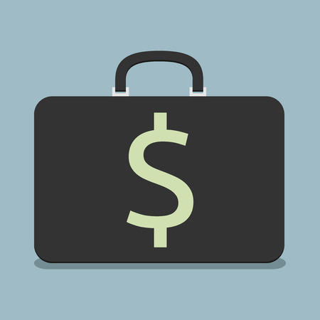 eps 8: Black briefcase with dollar sign. Flat style. Wealth, success, investment, business concept. EPS 8 vector illustration, no transparency