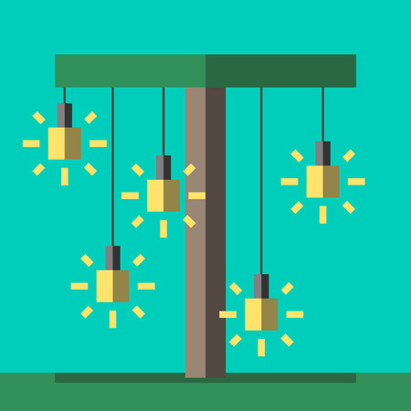 eps 8: Palm tree with glowing lightbulbs hanging on it. Insight, inspiration, idea, invention and innovation concept. Flat style. EPS 8 vector illustration, no transparency