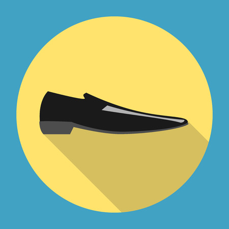 eps 8: Classic black man shoe icon on yellow background with long shadow. Business, fashion, footwear concept. EPS 8 vector illustration, no transparency