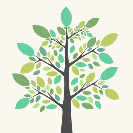 tints: Beautiful tree with multicolor green leaves of various shades and tints. Nature, growth, ecology, life concept. EPS 8 vector illustration, no transparency