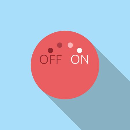 gradual: Abstract red rotating switch. Off and on, turning on, new beginning, start concept. Flat style icon with long shadow. EPS 8 vector illustration, no transparency Illustration