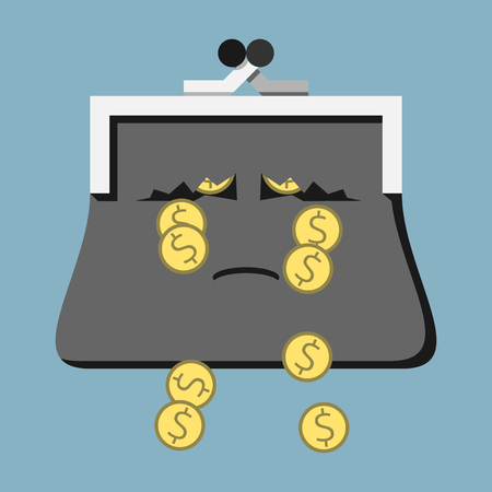 liabilities: Sad crying tearful purse character losing money with its tears. Dollar coins falling through holes in torn wallet. Costs, expenses, losses, poverty concept. EPS 8 vector illustration, no transparency Illustration