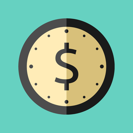 Clock with dollar sign and golden dial. Flat style icon on turquoise blue background. Time is money concept. EPS 8 vector illustration, no transparency Иллюстрация