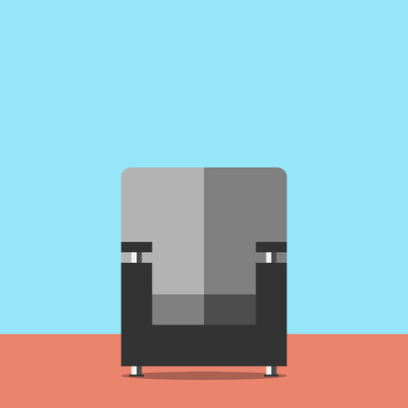 cosiness: Black armchair in room with blue walls, front view. Flat style. Home, comfort, cosiness, rest, interior concept. EPS 8 vector illustration, no transparency