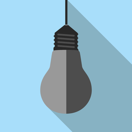 Burned dull gray lightbulb hanging on electric wire on blue background with long shadow. Flat style icon. EPS 8 vector illustration, no transparency