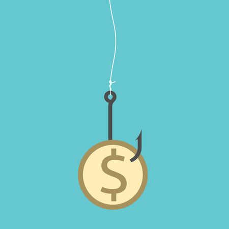deceit: Golden dollar coin on black sharp fishing hook hanging on fishing line. Fraud, deceit, greed, goal, wealth, gambling, laziness concept illustration, no transparency Illustration