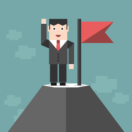 triumphant: Triumphant happy successful businessman character standing on high snow mountain peak with red flag. Success, busuness, goal, purpose concept. illustration, no transparency Illustration