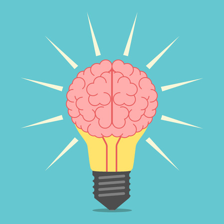 Glowing light bulb with brain. Lightbulb with mind. Idea, creativity, insight, invention, inspiration concept. illustration, no transparency
