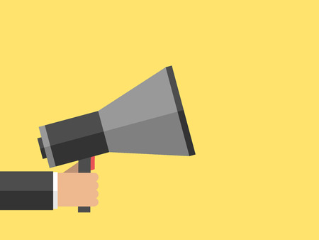 announce: Hand holding megaphone on yellow background. Marketing, promotion, message, announce, advertisement concept. Flat style illustration.  illustration, no transparency