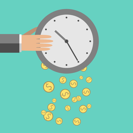 money management: Money dropping from clock. Flat style. Time is money, saving, time management concept.  illustration, no transparency Illustration