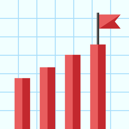 bar graph: Bar chart with flag on top of one of bars.
