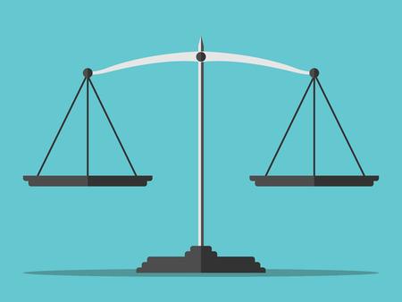 balanza de la justicia: escalas vacíos en el fondo azul. Vectores