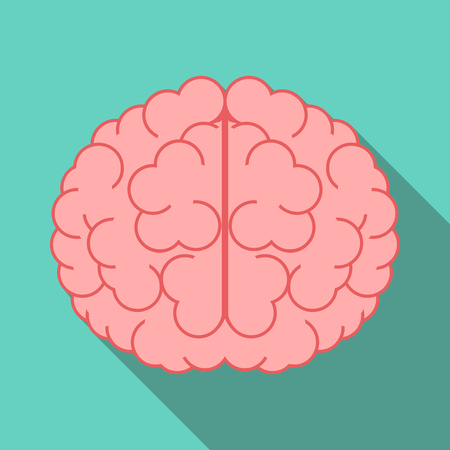 science icons: Brain with long shadow on turquoise blue background.