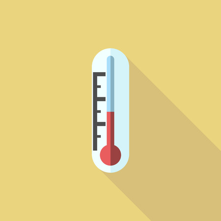 termometer: Thermometer with red liquid on yellow.