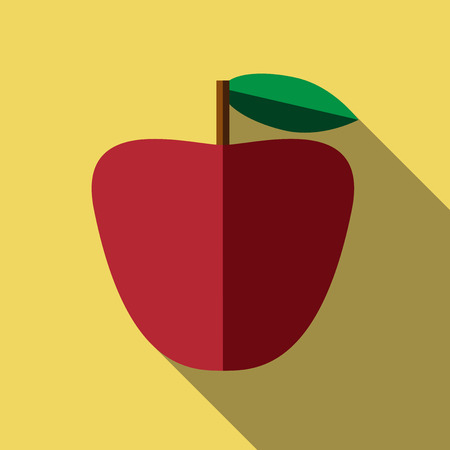 graft: Beautiful red apple with green leaf and brown graft on yellow background with long shadow.