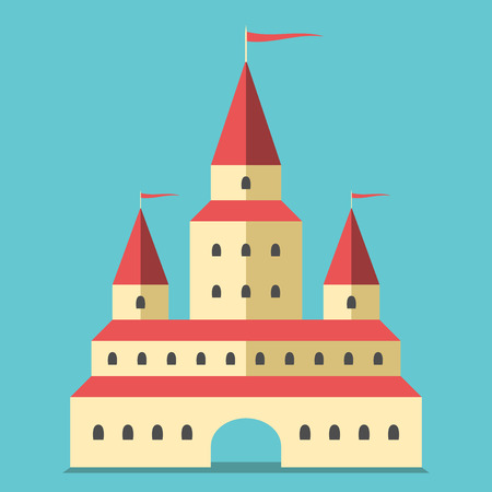 archway: Beautiful yellow castle with arch and flags. Illustration
