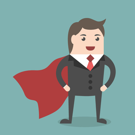competent: Successful young businessman super hero wearing red cloak standing. Business success, work, competent manager, executive, management concept. EPS 8 vector illustration, no transparency