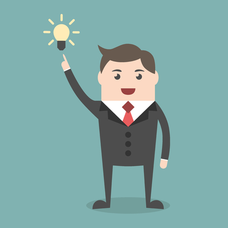 aha: Successful young businessman character with creative idea in aha moment. Business, success, insight, inspiration, innovation concept. EPS 8 vector illustration, no transparency Illustration