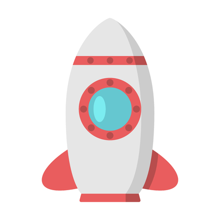 big fin: Beautiful rocket with red fin and big porthole. Space, exploration, startup, development, project launch, start, business concept. EPS 8 vector illustration, no transparency Illustration