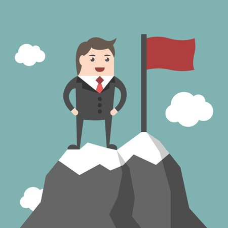 summit: Businessman standing on top of mountain peak with red flag. High ice summit. Business success, leadership, leader, executive, management concept. EPS 8 vector illustration, no transparency