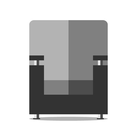 eps: Black armchair isolated on white background, front view. Flat style. EPS 8 vector illustration, no transparency