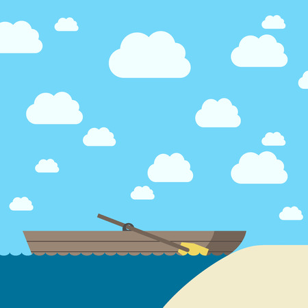 eps 8: Empty wooden boat with oar near yellow sand coast on light blue sky background with white clouds. EPS 8 vector illustration, no transparency