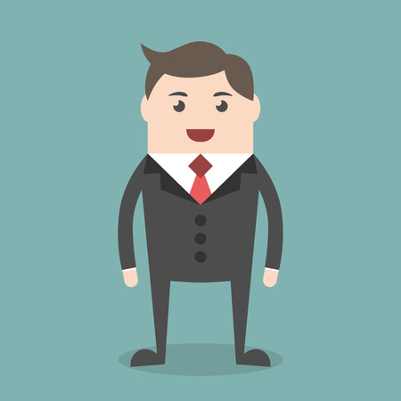 eps 8: Successful young businessman character standing, front view. Business, success, job, professional, management concept. EPS 8 vector illustration, no transparency