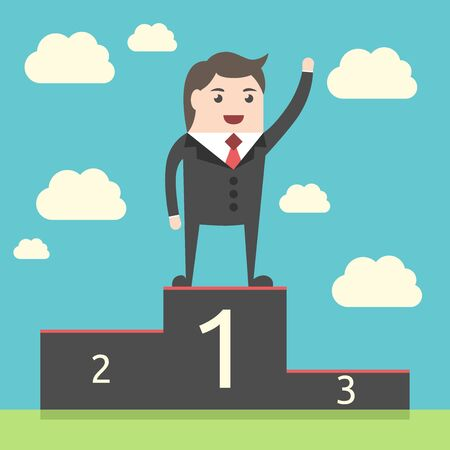 lucky man: Successful lucky happy businessman on pedestal on sky background. Man waving hand on victory podium. Achievement, triumph. EPS 8 vector illustration, no transparency