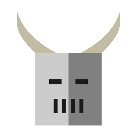 eps 8: Old heavy steel full helmet of knight with horns isolated on white. Flat style. EPS 8 vector illustration, no transparency