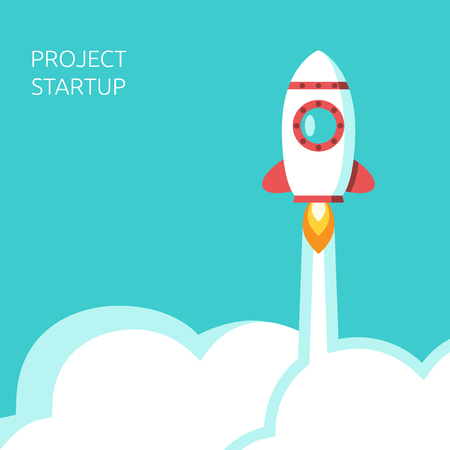 Rocket flying above clouds in turquoise blue sky. Startup, development, project launch, start, business, success, growth concept. EPS 8 vector illustration, no transparency Ilustração