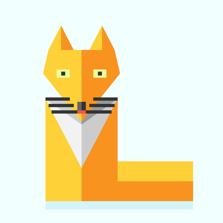 character design: Cute orange bright vivid fox. Beautiful simple stylized wild forest animal. Flat style. EPS 8 vector illustration, no transparency