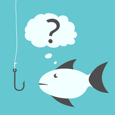 mistrust: Thoughtful uncertain hesitant fish with black fins looking questioningly at empty fishhook without bait. EPS 8 vector illustration, no transparency Illustration