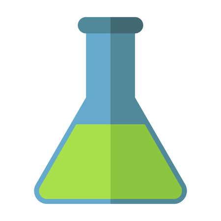 Blue conical chemical flask with green liquid. Flat style. Chemical industry, research, analysis, test, chemistry concept. EPS 8 vector illustration, no transparency
