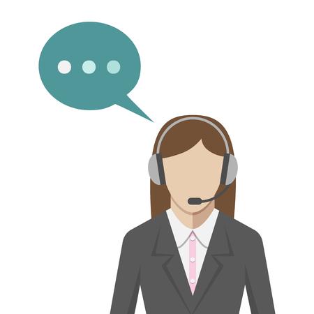 Kobieta ze słuchawkami w call center, stylu płaskiej. Wsparcie techniczne portret operator z zestawem słuchawkowym i bąblu. EPS 8 ilustracji wektorowych, brak przejrzystości Ilustracje wektorowe