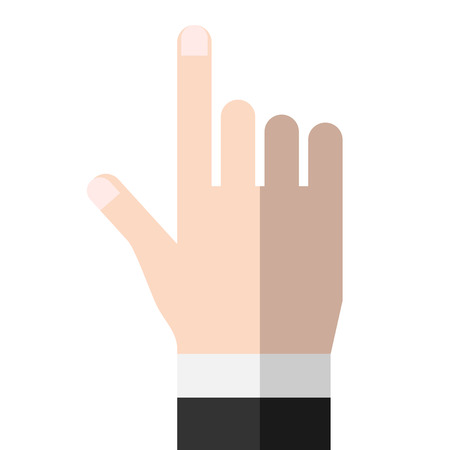 formal wear: Hand pointing at something or touching something. Business formal wear, suit or coat. Touchscreen, user interface. Flat style.
