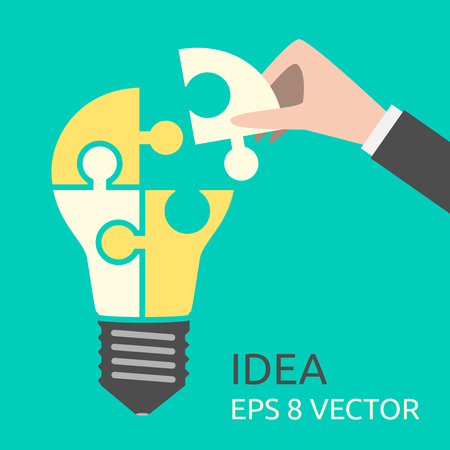 Hand putting missing piece into light bulb shaped puzzle. Idea, business, solution, creativity, genius concept. Flat style. EPS 8 vector illustration, no transparency