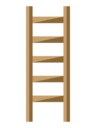 eps8: Wooden ladder isolated on white, flat style. Success, achievement, career, goal, work, rise concept. EPS 8 vector illustration, no transparency Illustration