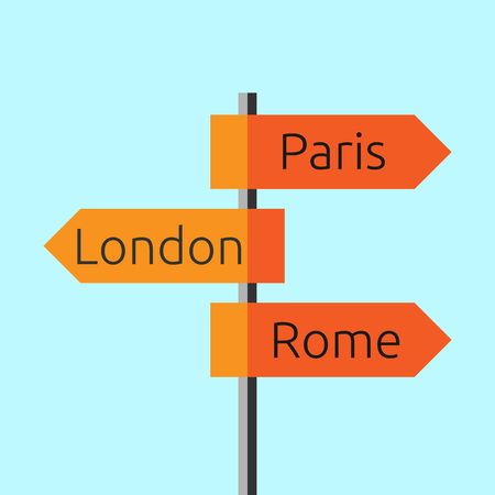 eps 8: Road sign showing directions to Paris, London and Rome. Route signboard. Tourism, trip, Europe, business concept. Flat style. EPS 8 vector illustration, no transparency
