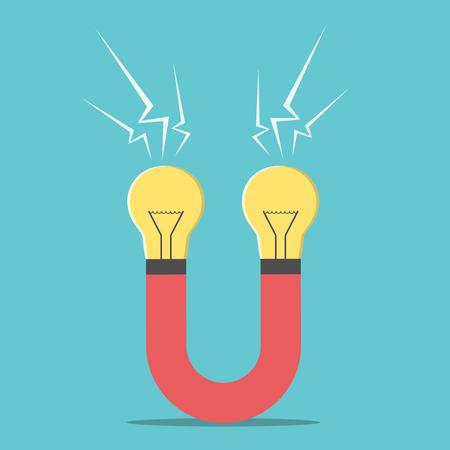 iman: Imán con bombillas. La creatividad, el éxito del negocio, la innovación, la invención concepto. EPS 8 vector ilustración, sin transparencia